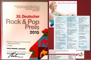"""Ines-Marie Jaeger erhält 2015 von der deutschen Popstiftung 4 Nominierungen und ihre Debut Album-Produktion """"Keine Zeit verschwenden"""" wird mit dem 2 Preis ausgezeichnet."""